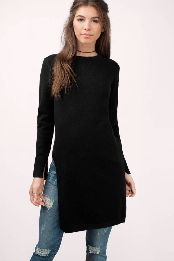 Black Sweater Asymmetric Sweater Long Sleeve Sweater Black Top