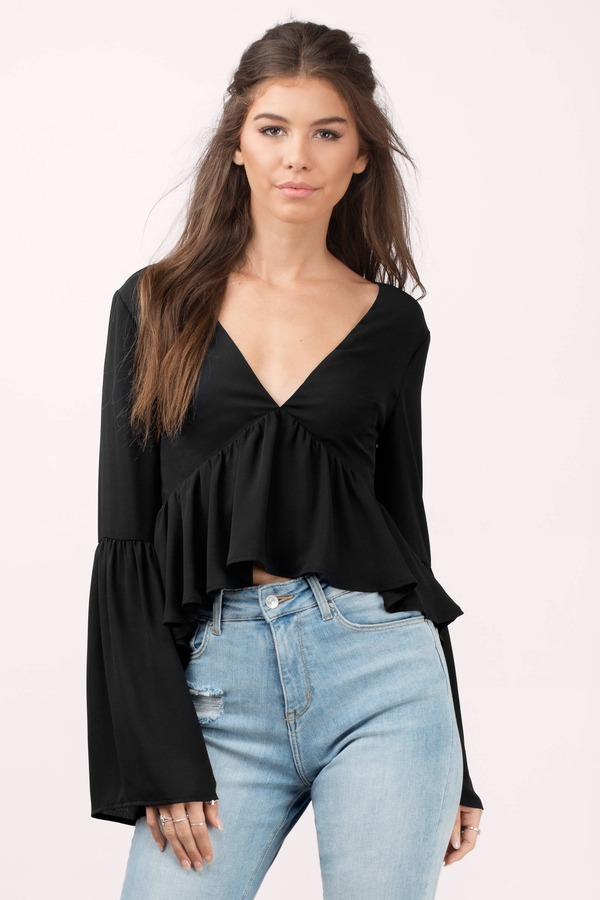 5f5283fbb6aec3 Cute Black Blouse - Lace Up Blouse - Bell Sleeve Blouse - Black ...