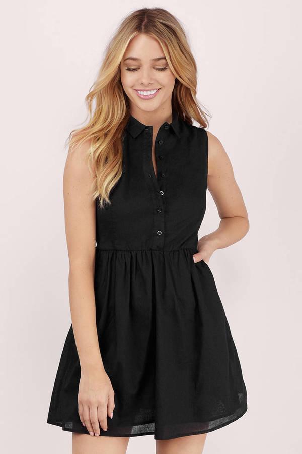 6a3c6a3e365 Cute Black Day Dress - Button Front Dress - Day Dress - NZ  22