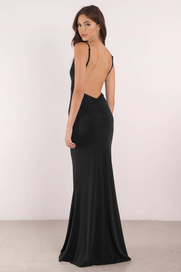 Black low back dress with bow