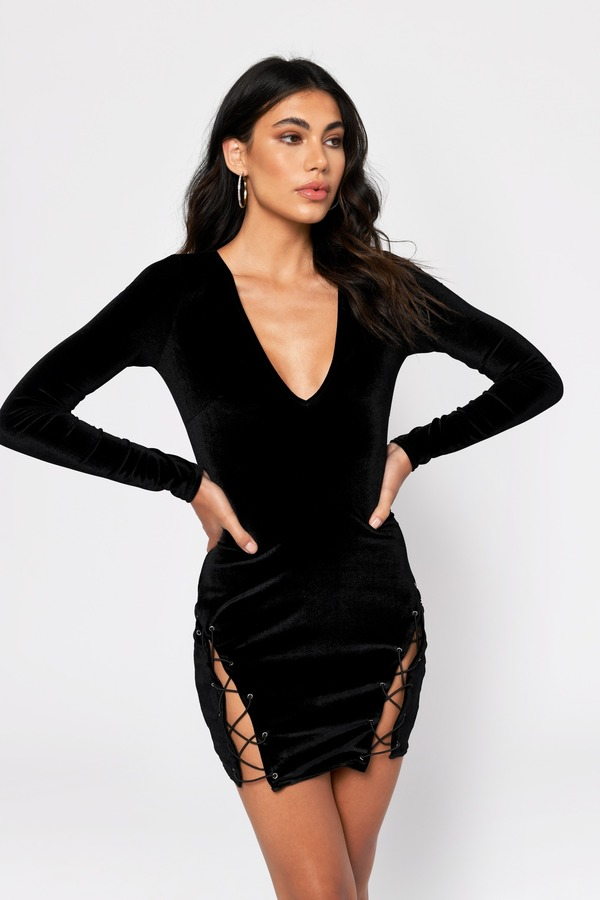 New Years Eve Dresses Black Lace Me Up Velvet Bodycon Dress