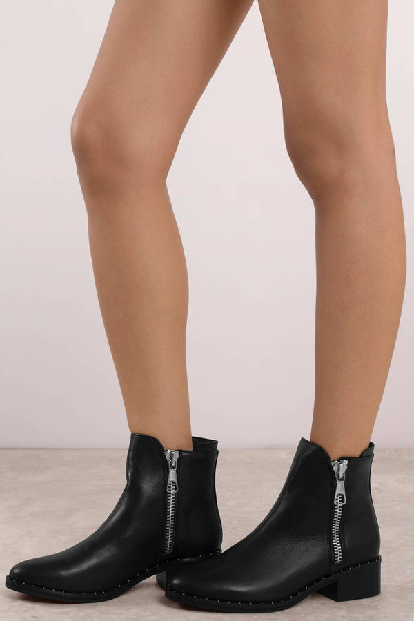 d5ec97cd325 Black Steve Madden Boots - Round Toe Boots - Black Zip Up Studded ...