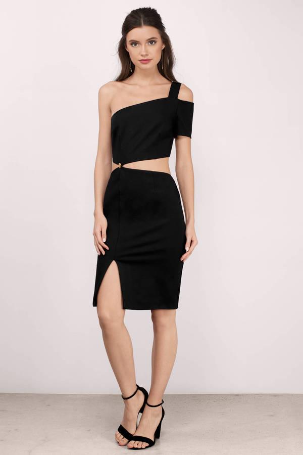 One Shoulder Dresses  One Sleeve White Black Red Prom Tobi