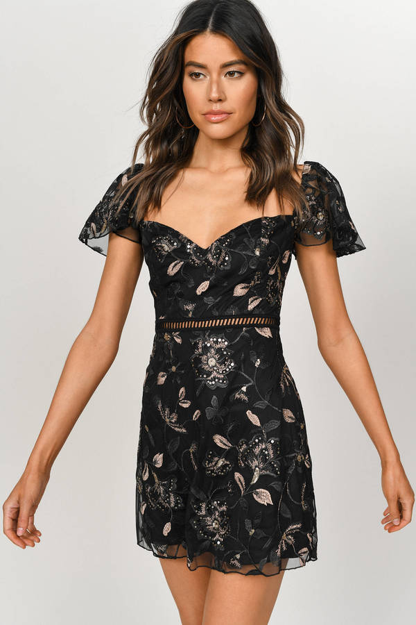 37468ffe Sequin Dresses, Black, Linger Around Embroidered Mini Dress, ...