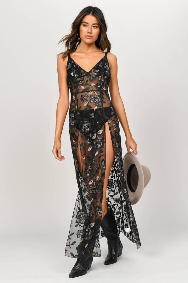 c89aa78a Sequin Dresses, Black, Listen To Me Embroidered Maxi Dress, ...