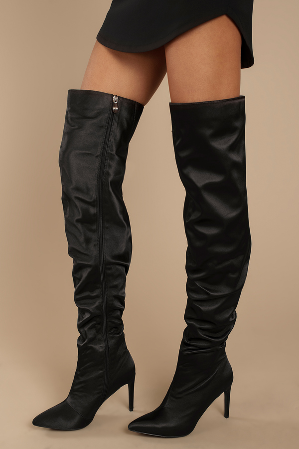 160703b6a1f0 Over The Knee Boots, Black, Lustful Slouchy Satin Thigh High Boots, ...