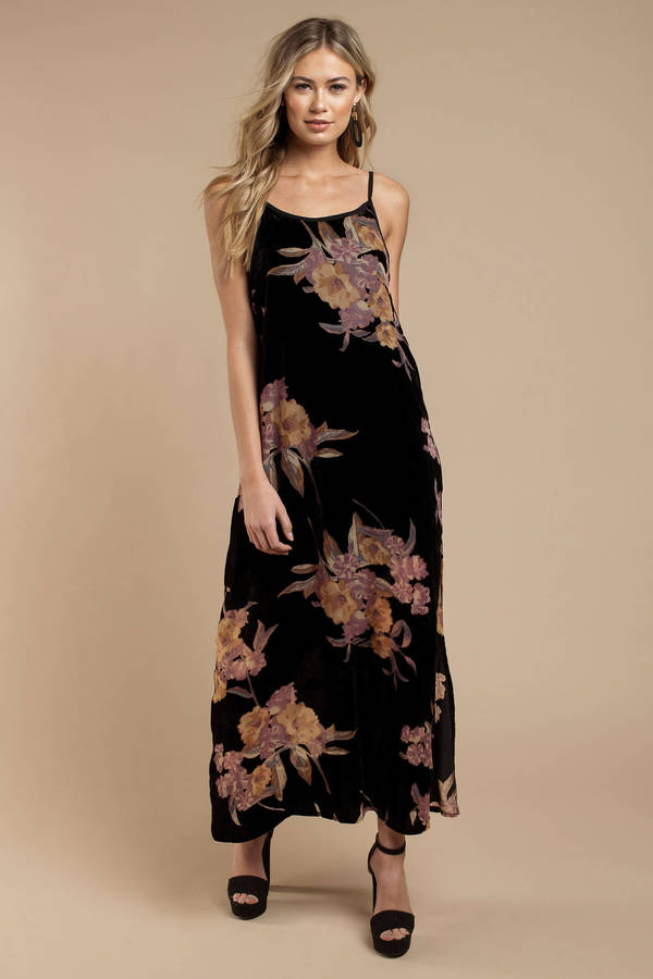 Long Black Dresses Black Maxi Dress With Slit Black Gowns Tobi