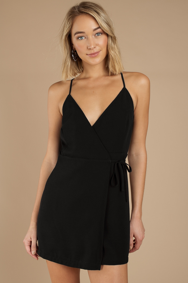Deep V Dresses Black Maria Cross Front Wrap Dress