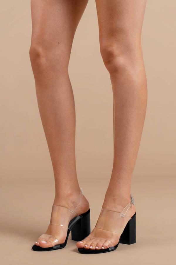 Heels, Black, Mavis Clear Strap Heels ...