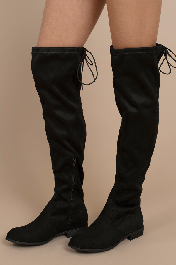 4285ad06cc3 Black Boots - Faux Suede Knee High Boots - Black Dressy Boots - NZ ...