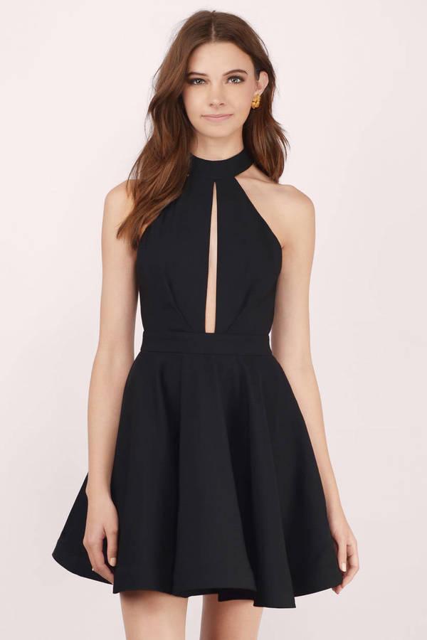 2c877f5331 Cute Black Skater Dress - Mock Neck Dress - Skater Dress - C  22 ...