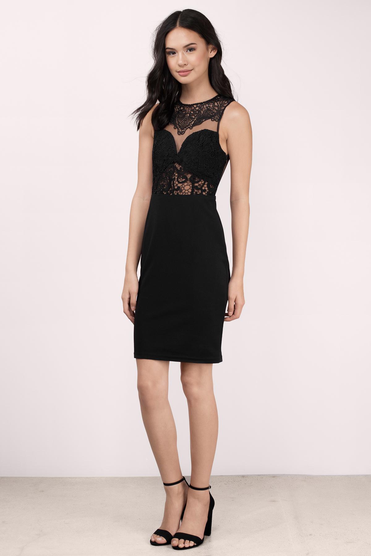 Trendy Black Bodycon Dress - Lace Tank Dress - $27.00