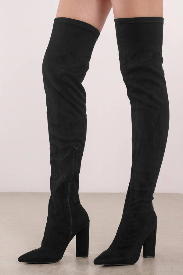 Missy Black Faux Suede Thigh High Boots 47 Tobi Us