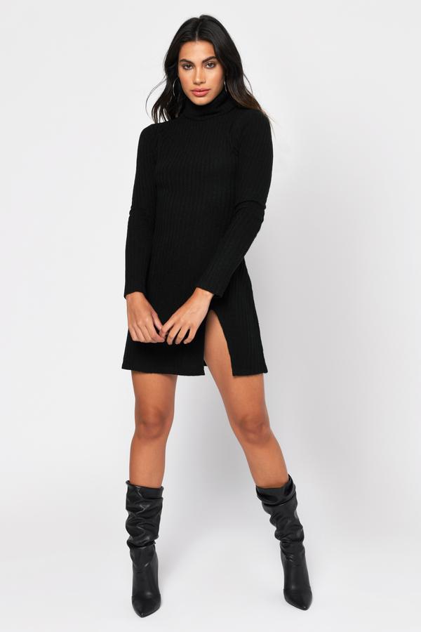 Taupe Knit Dress Leg Slit Dress Taupe Turtleneck Dress 44