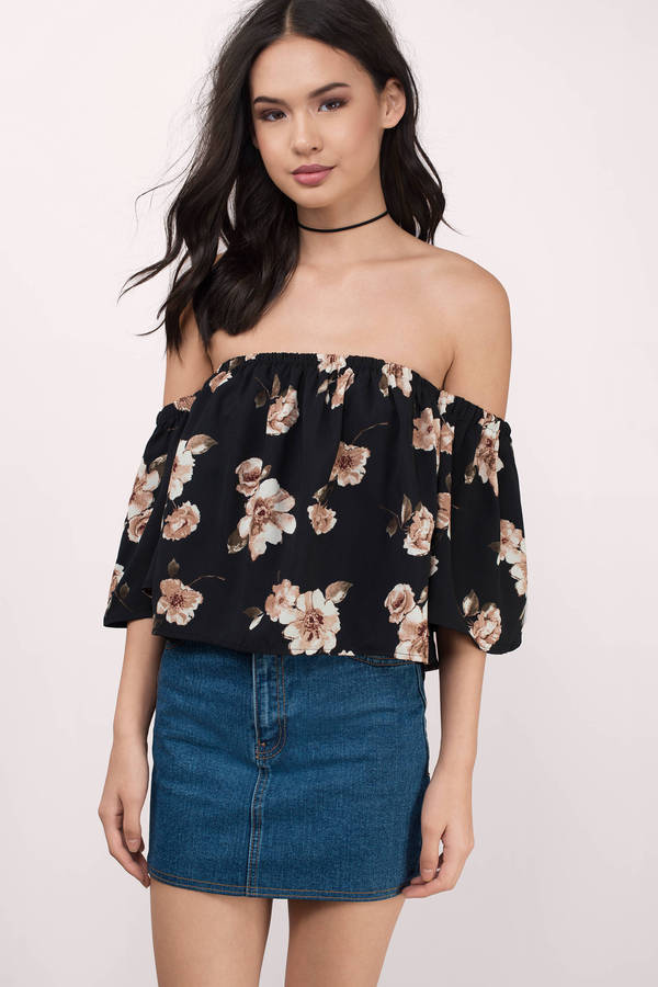 f0e3eae7f8f110 Black Multi Crop Top - Black Top - Off The Shoulder Top - $29 | Tobi US