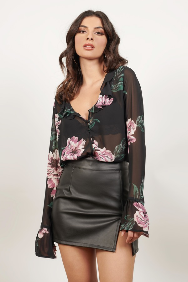 c6292f55dd8ab6 Sheer Blouses, Black Multi, While We're Young Floral Blouse, ...