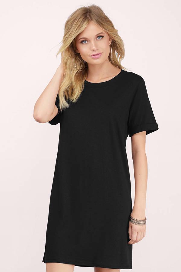 9bbe94dbf141 Simple Black Casual Dress - Shirt Dress - Black Tee Dress - € 45 ...