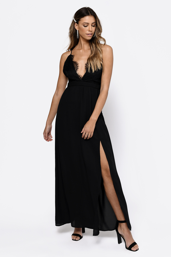 Wedding Guest Dresses Black Opposites Attract Lace Maxi Dress