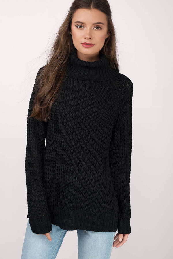 Black Sweater - Turtleneck Sweater - A Line Sweater - £20 | Tobi GB
