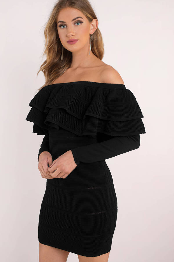 Black Bodycon Dress - Ruffle Dress - Black Off Shoulder Dress ... 1b90f246078d