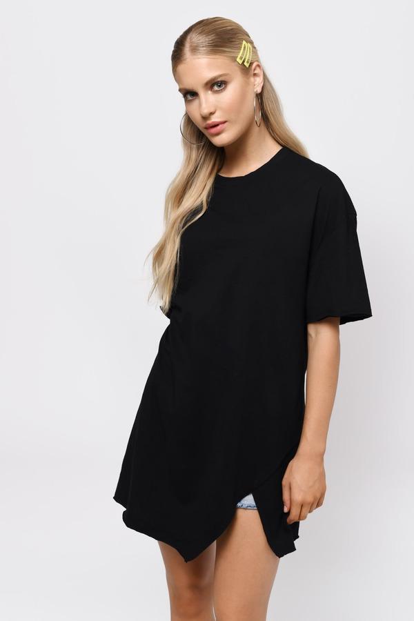 3d559bfbbab0 Black Shift Dress - U Neck Dress - Black Slit Shirt Dress - C  35 ...