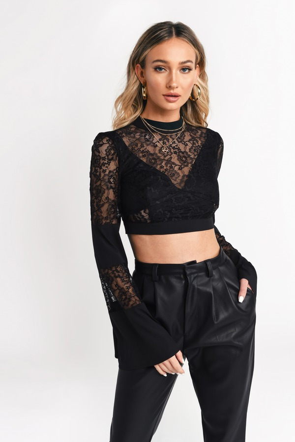 a550795fa Black Crop Tops | Sexy Lace Crop Tops, Long Sleeve Crop Tops | Tobi