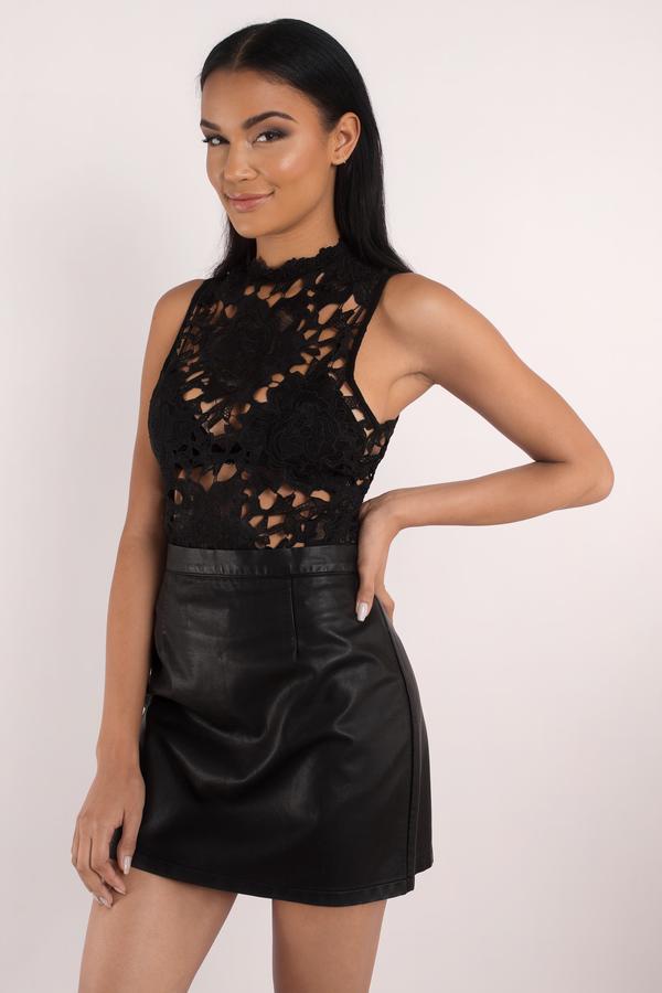 black bodysuit sleeveless bodysuit cream lace top