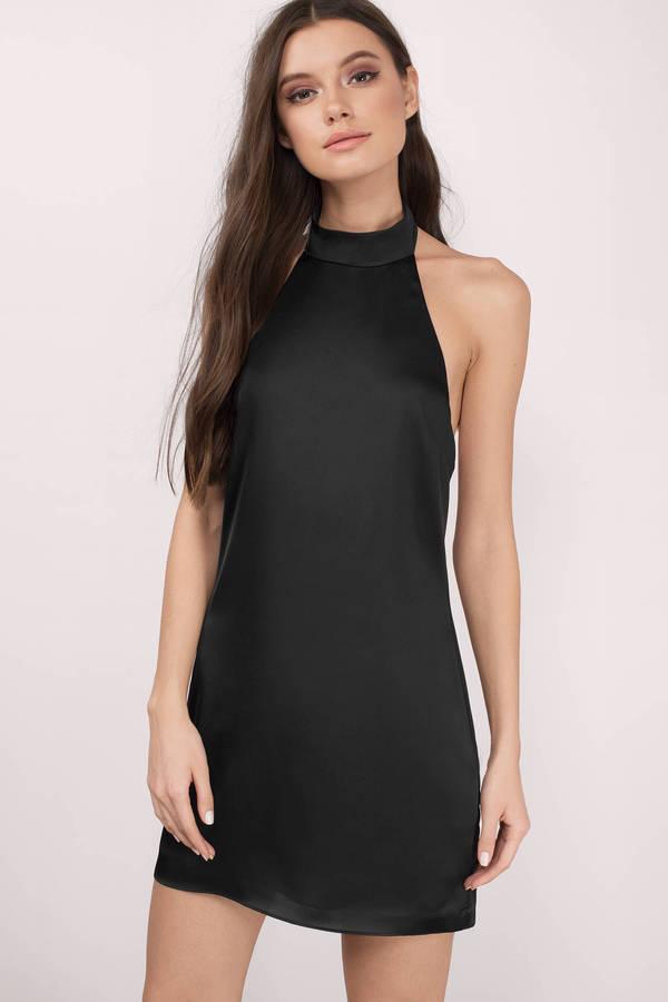 840f886e60738 Black Shift Dress - Black Dress - Satin Dress -  24