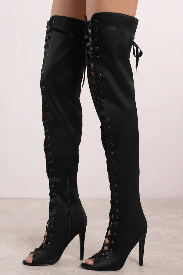 4d502910323 Black Boots - Satin Thigh High Boots - Black Peep Toe Lace Up Boots ...