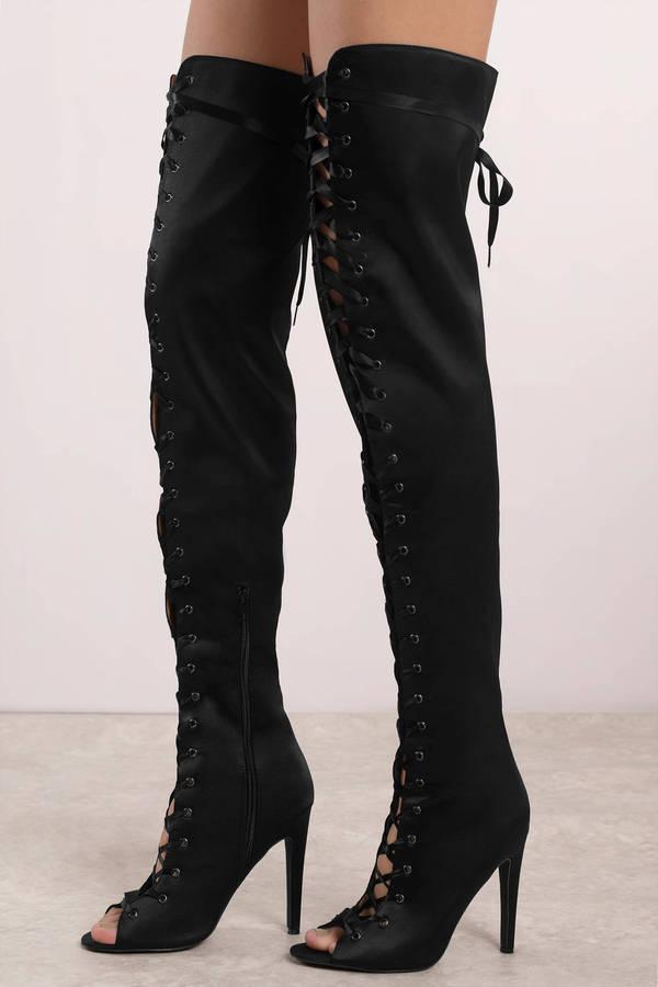 Black Boots - Satin Thigh High Boots