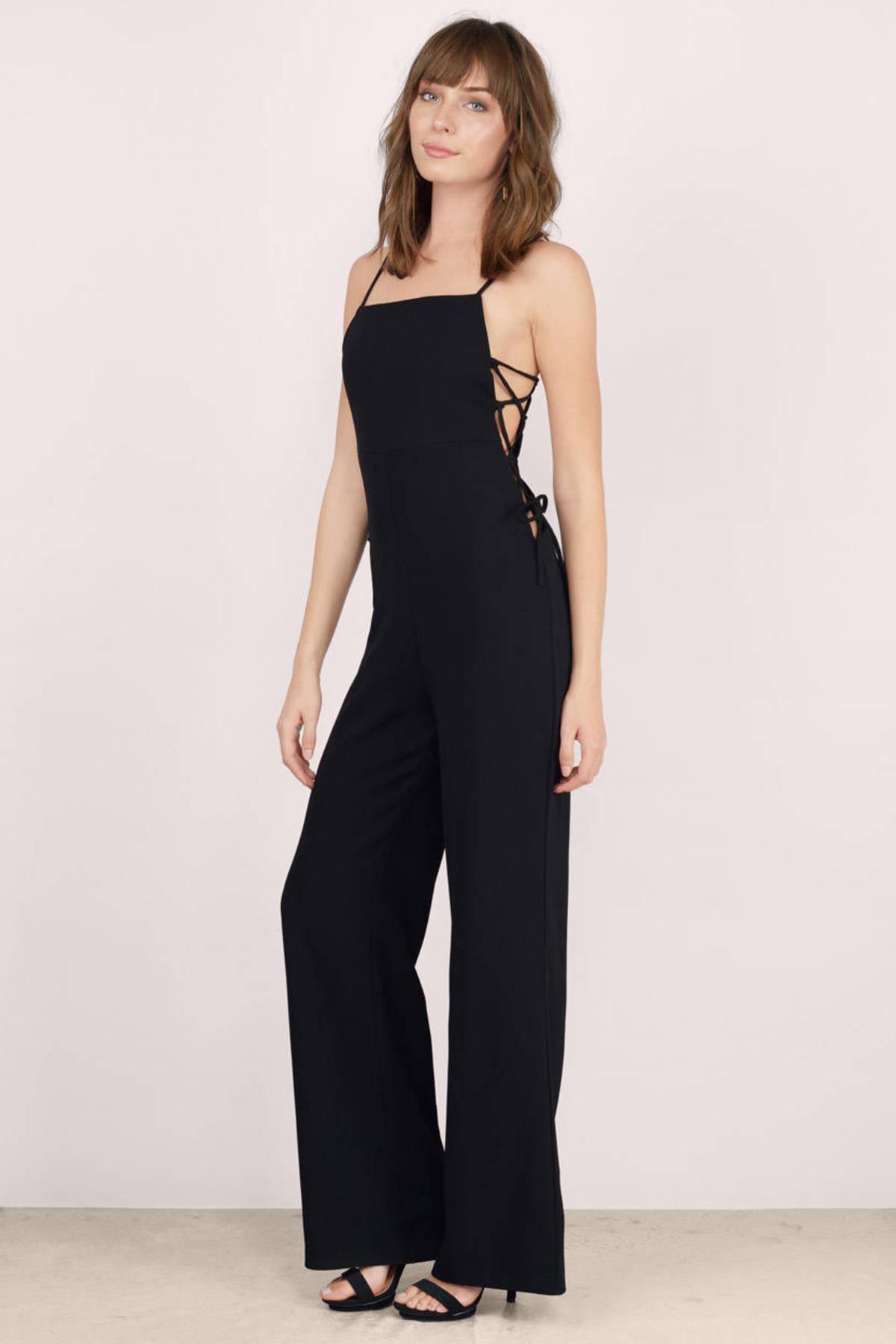 Black Jumpsuit - Black Jumpsuit - Wide Leg Jumpsuit - $15.00