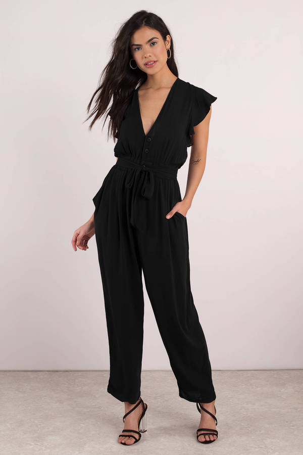 916f32951ad Free People Free People Ruffle Your Feathers Black One Piece Jumpsuit ...