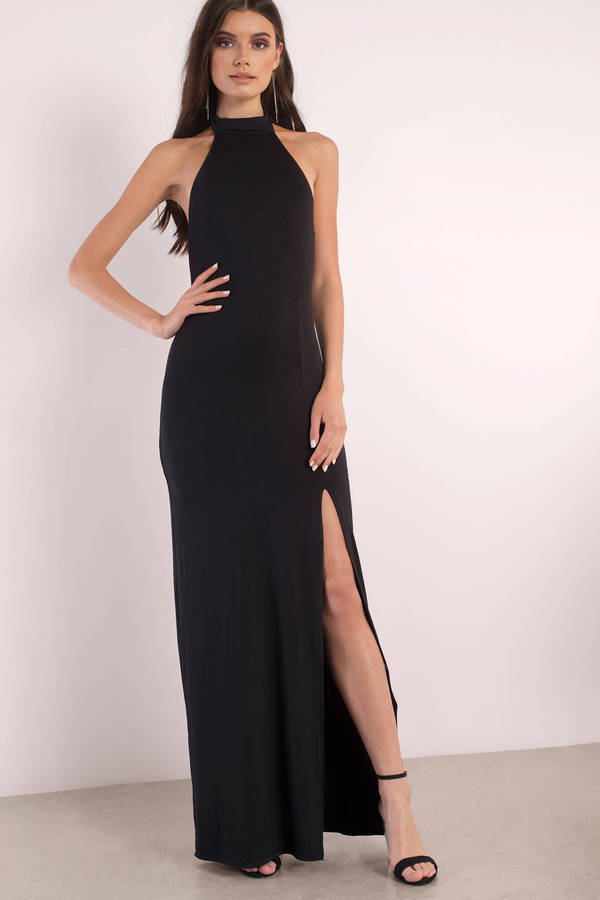 Black Maxi Dress - Backless Dress - Mock Neck Dress - Full Dress ...