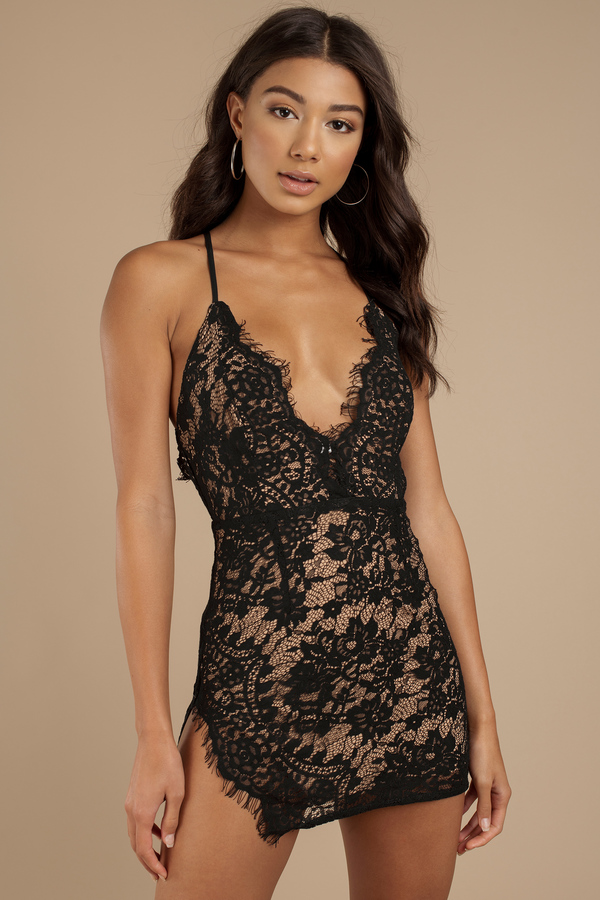 Bodycon Dresses Black Side Eye Lace Bodycon Dress