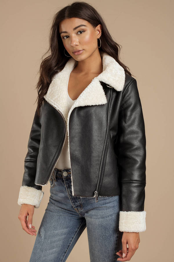 e737350d87 Leather Jackets, Black, Silent Night Faux Shearling Moto Jacket ...