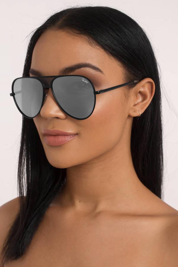 63bba00e1e208 QUAY Quay X Kylie Iconic Black Silver Sunglasses ...