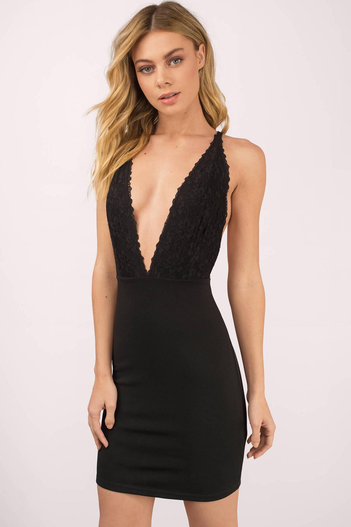 Skylar Black Plunging Bodycon Dress - $66.00 | Tobi