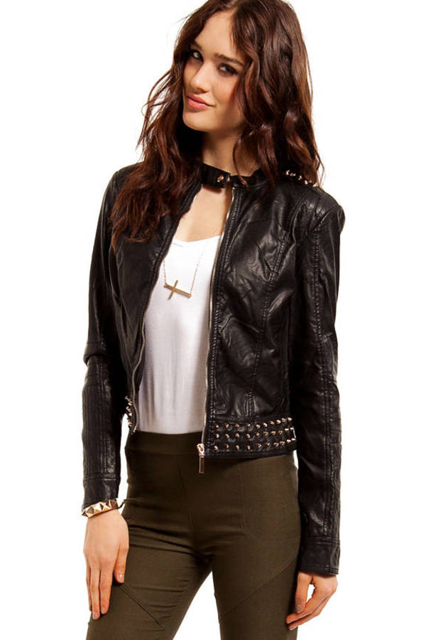 Studded Vegan Leather Jacket