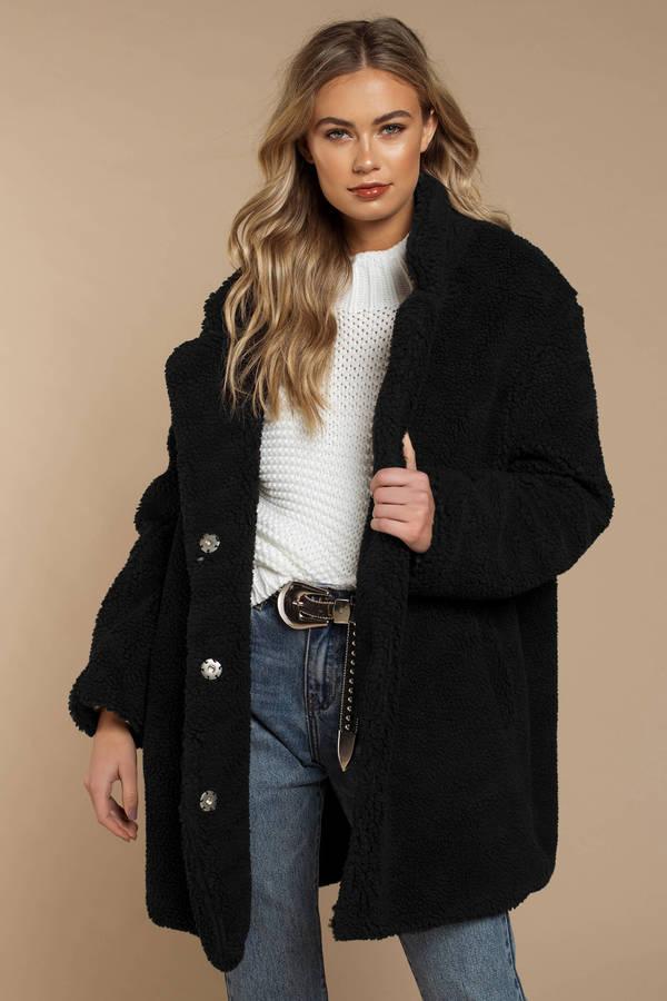 4c786bdd95a Faux Fur Coats, Black, Swiss Alps Long Line Teddy Coat, ...