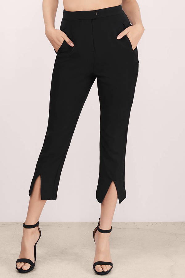 black pants  front slit pants  high waisted pants