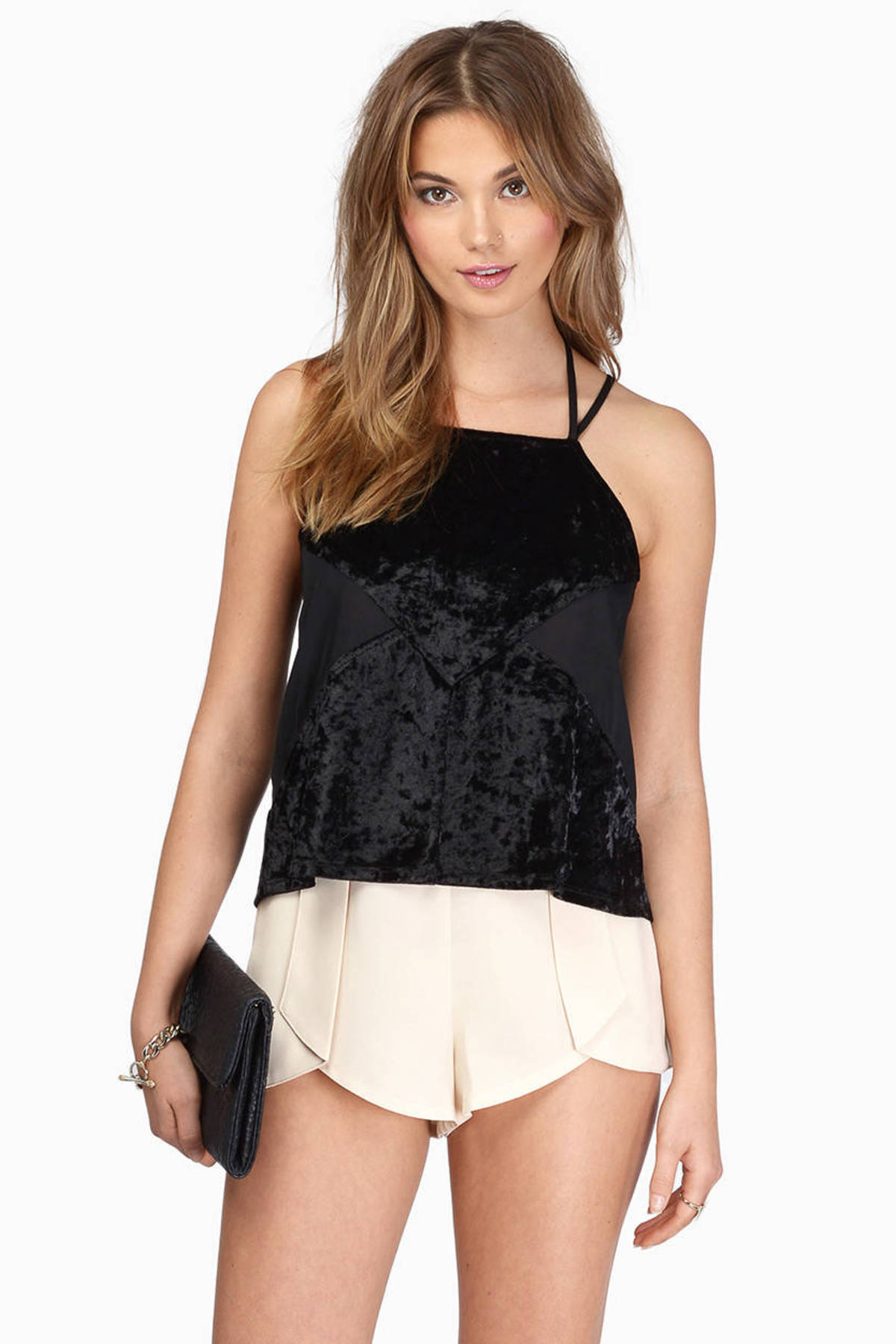 black lacey trim detail frill hem strappy crop top xoosha