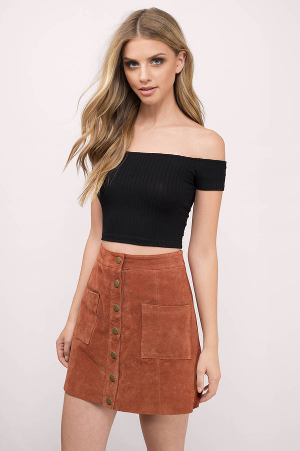 Black Crop Top - Black Top - Off Shoulder Top - $32.00