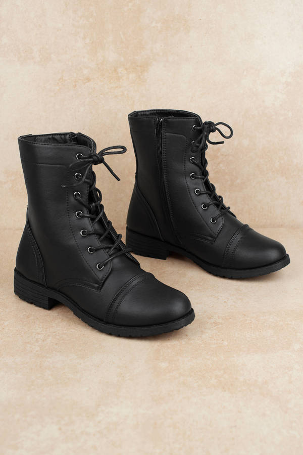 Black Faux Leather Boots - Cute Combat Boots - Black Lace ...