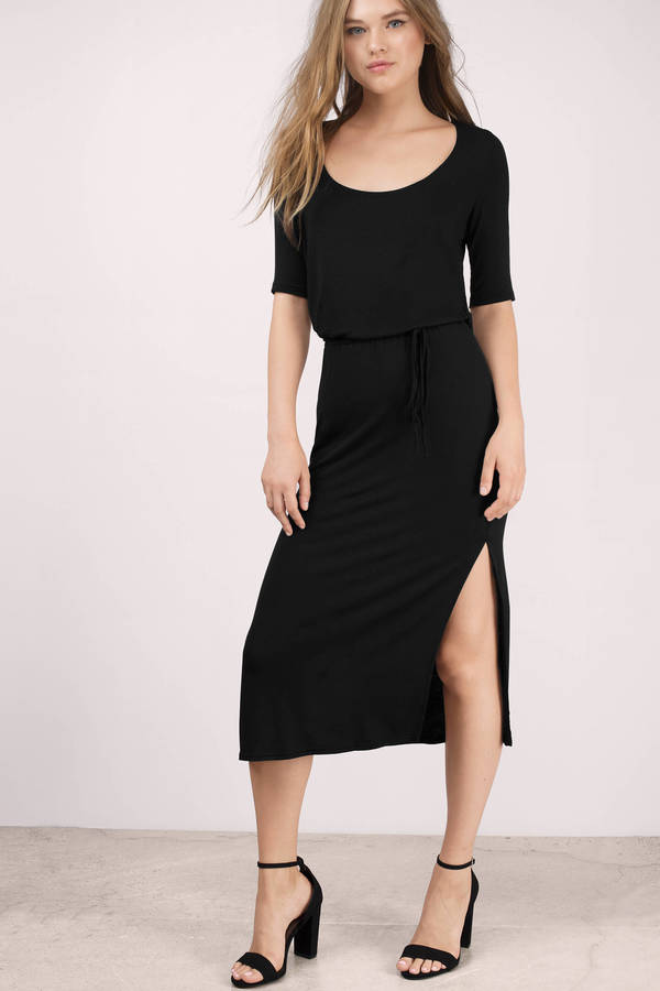 Black Midi Dress Slit Dress Modal Dress Half Sleeve