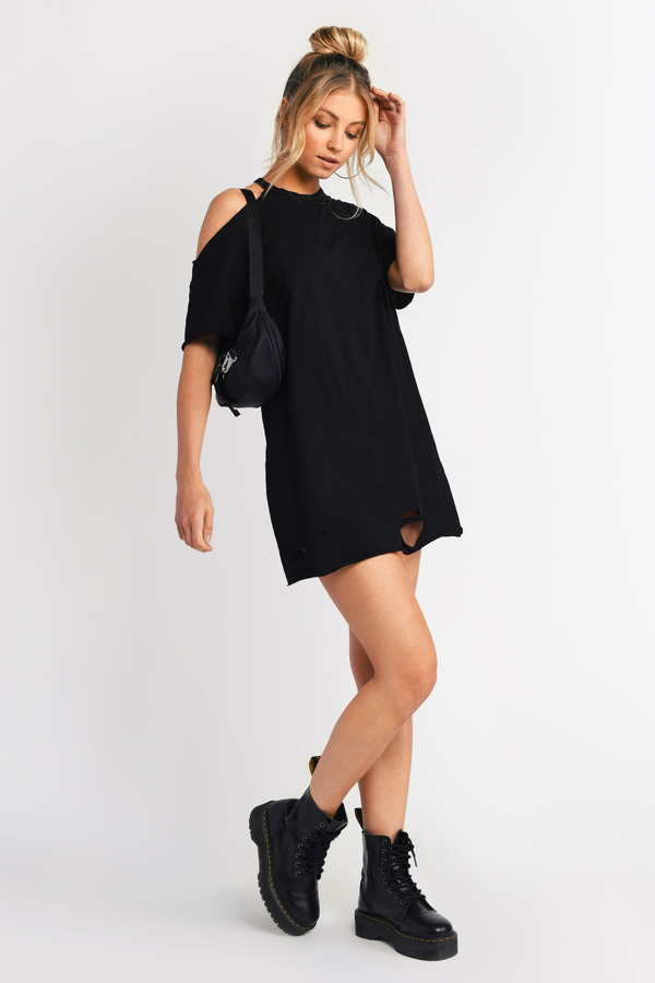 d9742b1c4848 Black Shift Dress - Distressed T Shirt Dress - Black Cold Shoulder ...