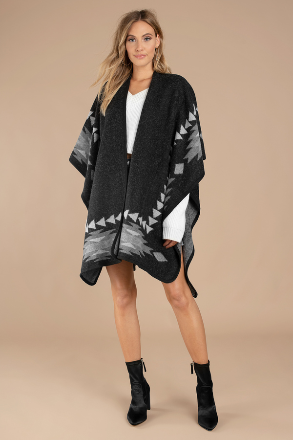 390741f6afd Black Coat - Winter Patterned Poncho - Black Bohemian Poncho - 478 ...