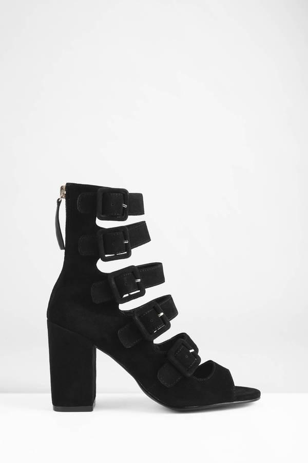 0c4b82753bb Black Heels - Strappy Heels - Peep Toe Heels - Chunky Heels -  63 ...