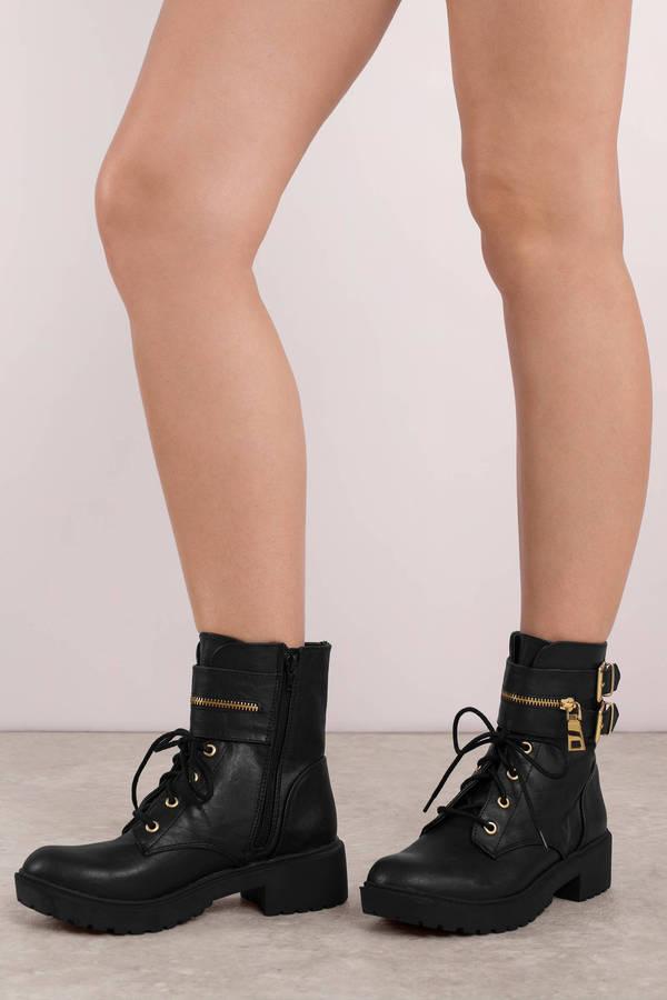 Booties Black Valerie Double Buckle Combat Boots