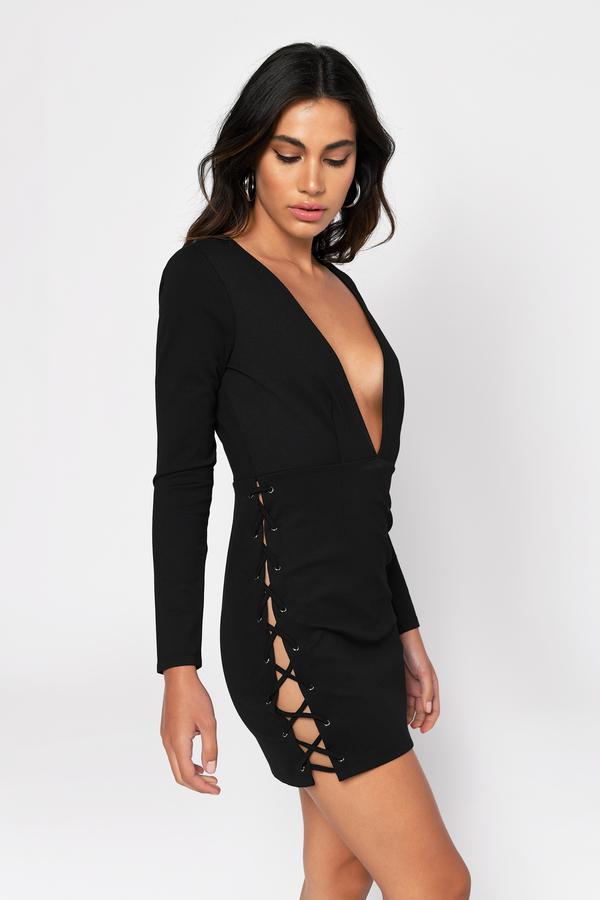 Deep v black peplum dress