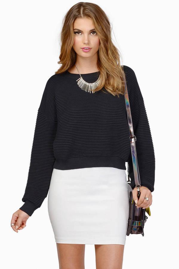 Black Sweater - Simple Sweater - Black Cropped Sweater ...